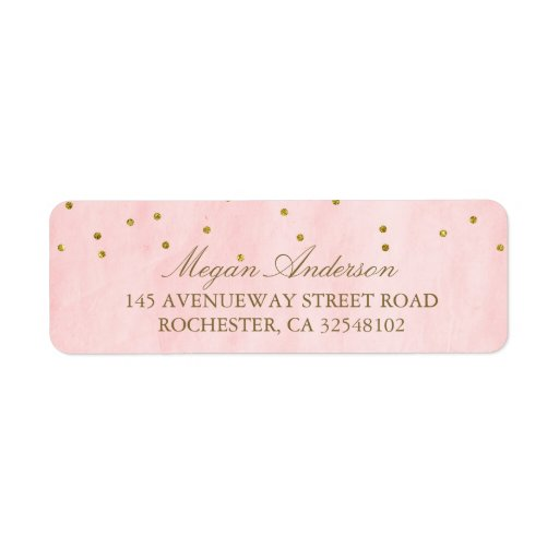 Vintage Pink Gold Confetti Wedding Label