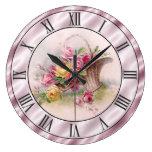 Vintage Pink Roses Basket Mauve Satin Look Border Large Clock