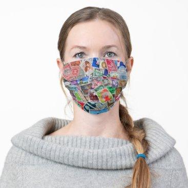 vintage postage stamp collection adult cloth face mask