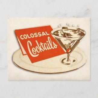 Vintage Postcard Colossal Cocktails