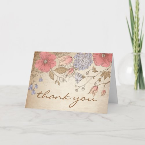 Vintage Purple and Red Flowers Thank You Card