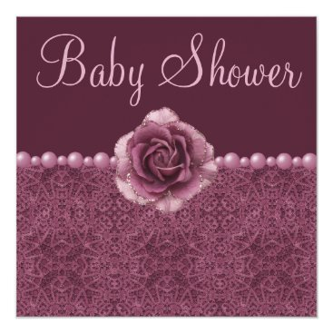 Vintage Purple Baby Shower Roses, Pearls & Lace Card