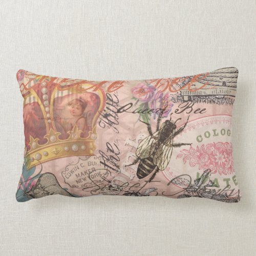 Vintage Queen Bee Beautiful Girly Collage Lumbar Pillow