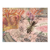 Vintage Queen Bee Beautiful Girly Collage Postcard
