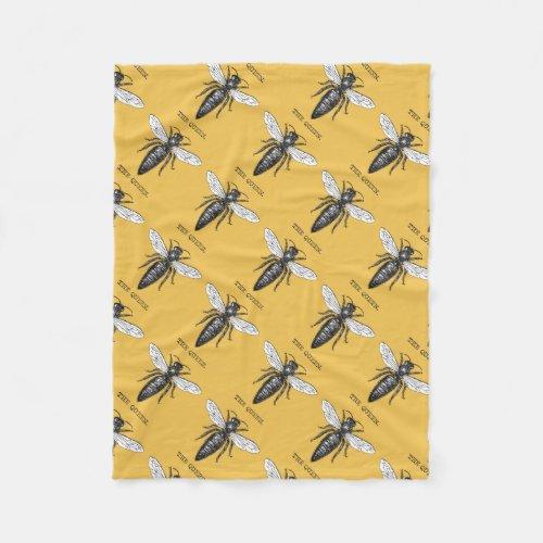 Vintage Queen Bee Illustration Fleece Blanket