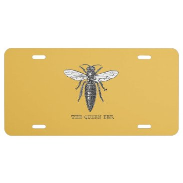 Vintage Queen Bee Illustration License Plate