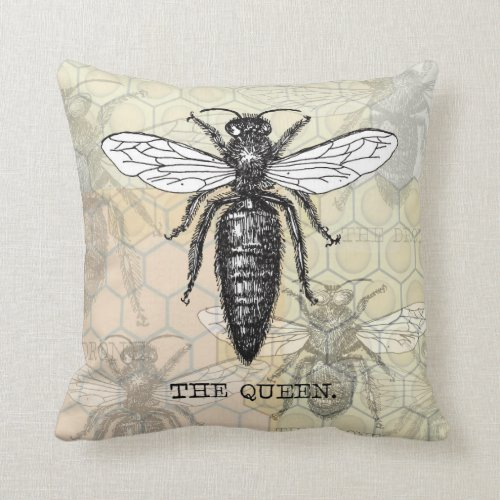 Vintage Queen Bee Illustration Throw Pillow