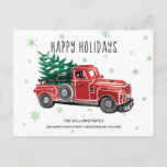 Vintage Red Pickup Truck New Address Holiday Announcement Postcard