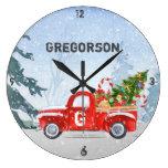 Vintage Red Truck Christmas Monogram Name Large Clock