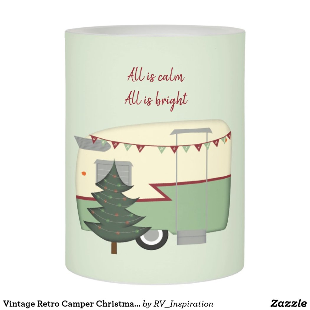 Vintage Retro Camper Christmas Flameless Candle