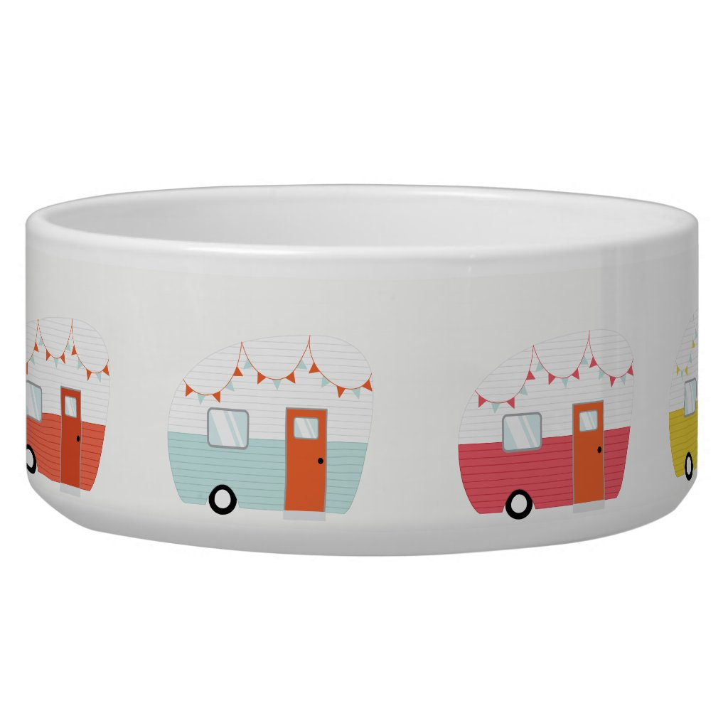 Vintage Retro Camper Trailer Pet Bowl