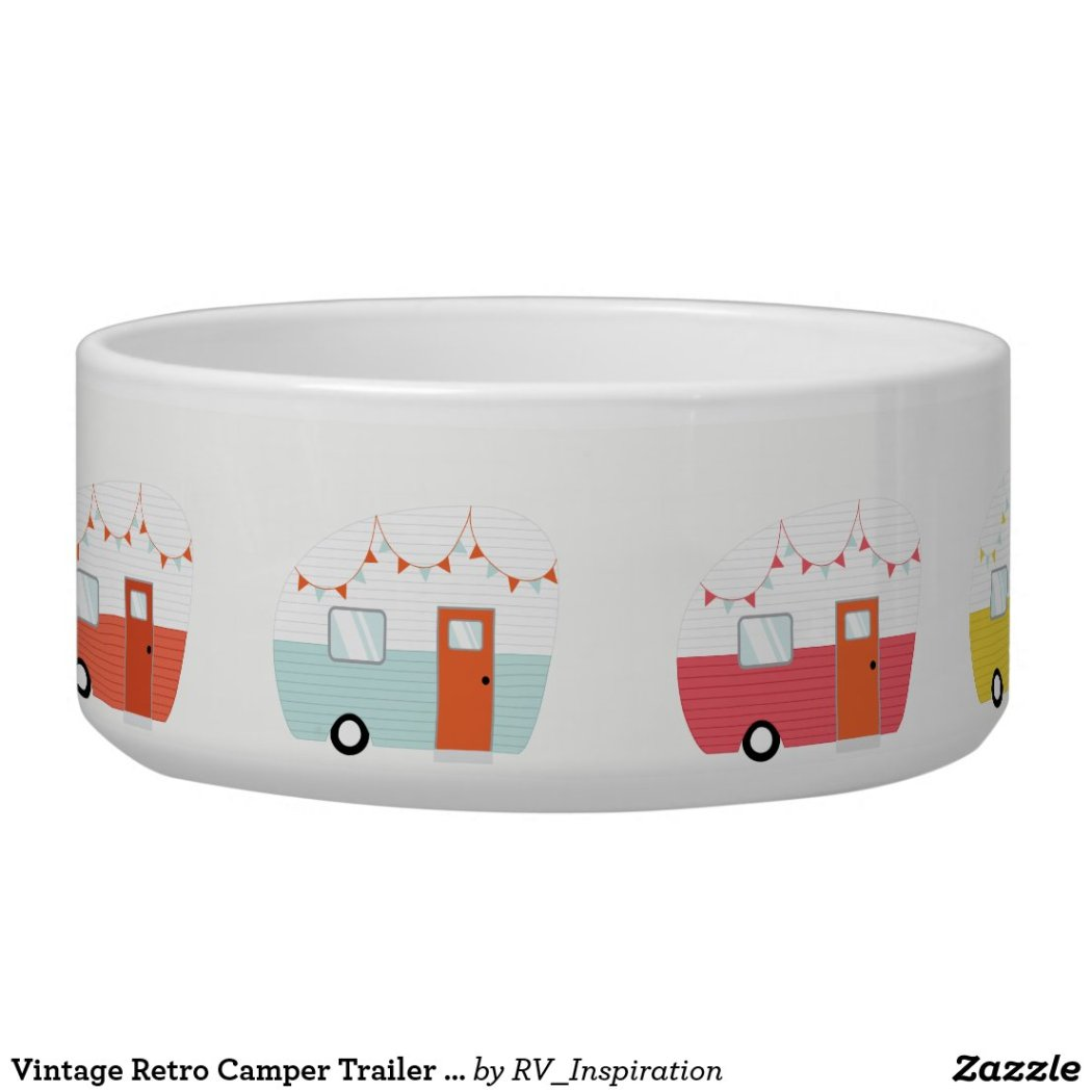 Vintage Retro Camper Trailer Pet Bowl