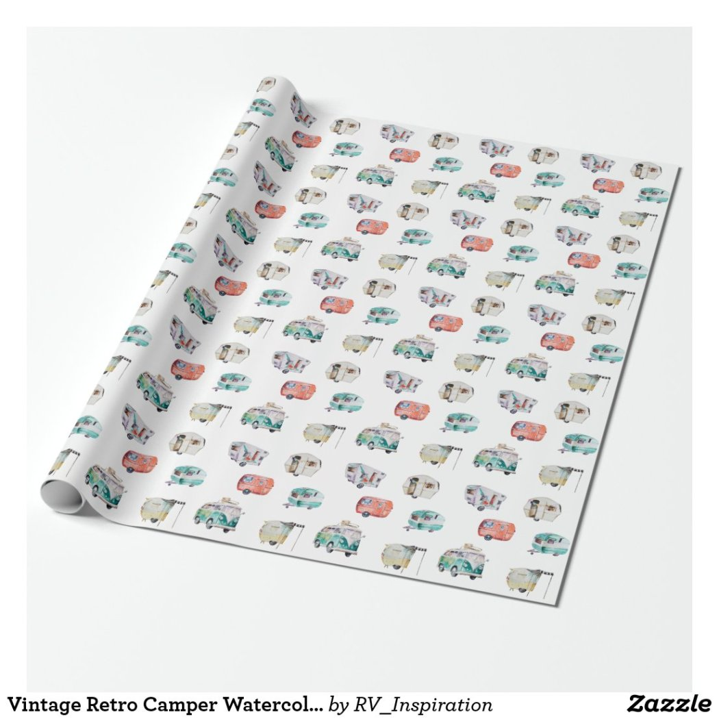 Vintage Retro Camper Watercolor Gift Wrap Paper