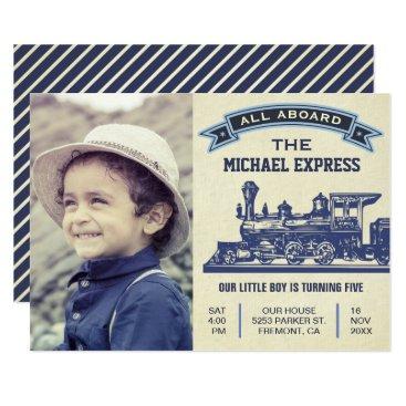 Vintage Retro Train Kids Birthday Party Invitation