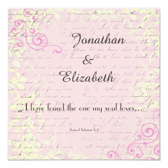 Vintage Romance With Verse Wedding Invitation