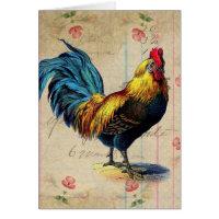 Vintage Rooster, Birthday Card