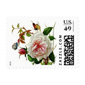 Vintage Rose Butterfly Postage