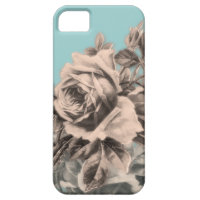 Vintage Roses Floral on Blue iPhone 5 Cases