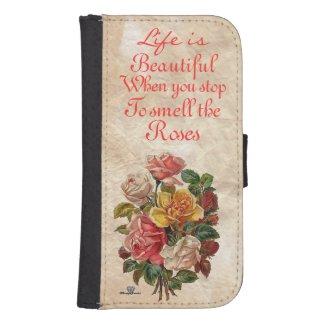 Vintage Roses/Inspiring Words Galaxy4 Wallet Case Galaxy S4 Wallets