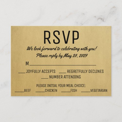 Vintage RSVP w/ Meal Choice Response Cards