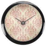 Vintage,rustic,damask,pink,pattern,retro,antique, Aquavista Clock