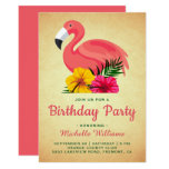 ❤️ Vintage Rustic Floral Flamingo Birthday Party Invitation