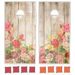 Vintage Rustic Romantic Roses Wood Cornhole Set