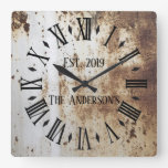 Vintage Rustic Shabby Chic Distressed Antique Square Wall Clock