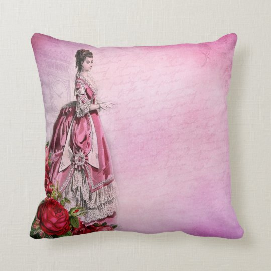 Vintage Shabby Chic Pillows featuring a Victorian era potrait and roses