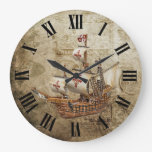Vintage Ship Roman Numerals Design Large Clock