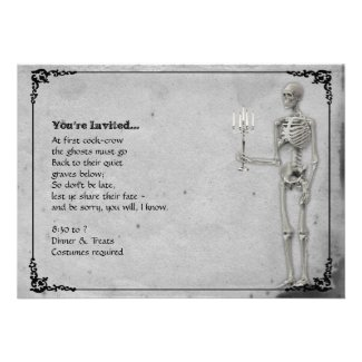 Vintage Skeleton Halloween Party Custom Invitations