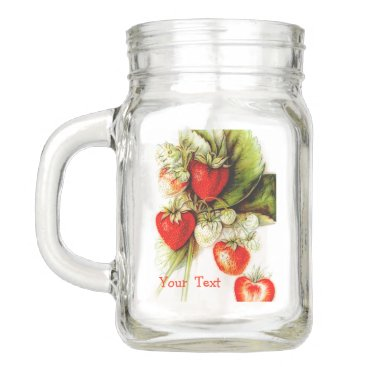 Vintage strawberry - your text mason jar