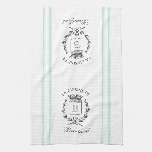 Vintage Style French Sack Custom Name and Monogram Towel