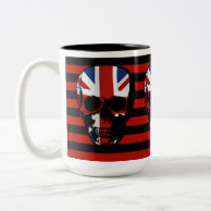 vintage style gothic skull with union jack coffee mug