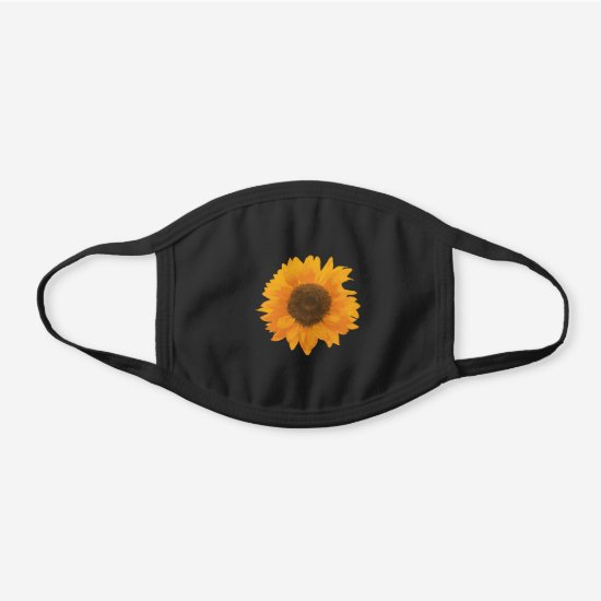 Vintage Sunflower Head Painted with Warm Yellow Black Cotton Face Mask