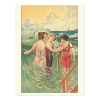 Vintage swimmers poster Postcards