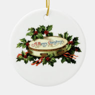 Vintage Tambourine and Holly Ornament