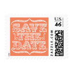Vintage Tangerine Save the Date Postage Stamp
