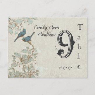 Vintage Teal Birds Damask Wedding Table Number Post Cards