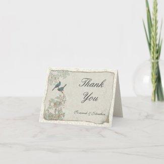Vintage Teal Birds Parchment Damask Thank You Card