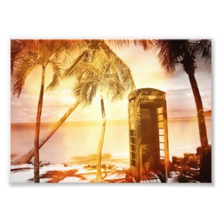 Vintage telephone booth yellow glow art photo