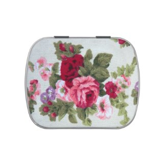 Vintage textile print red and pink roses bouquet jelly belly candy tins