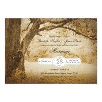 Vintage Tree Carving Wedding Invitation