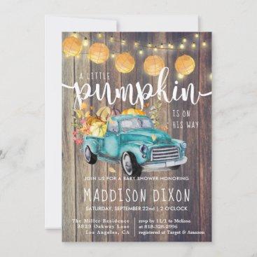 Vintage Truck Rustic Barnwood Autumn Baby Shower