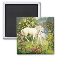 Vintage Unicorn And Foal Magnet