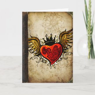 Vintage Urban Tattoo Winged Heart Greeting Cards card
