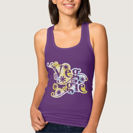 Vintage Veggie Womens Slim Racerback Vegetarian T-shirts