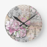 Vintage,victorian,collage,rustic,shabby chic,roses round wallclock