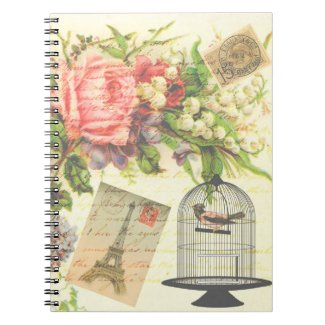 Vintage Victorian Floral Bird Paris Notebook