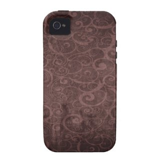 Vintage Victorian Grunge - Chocolate Swirls Patter iPhone 4/4S Case